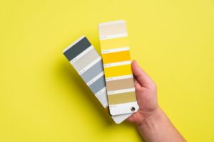yellow and gray color swatches for interior paint